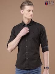 Louis Philippe Jeans Men Brown Regular Fit Printed Casual Shirt