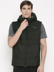 PUMA Black Sleeveless Quilted Hooded Jacket