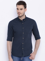 Flying Machine Men Navy Blue Regular Fit Solid Casual Shirt