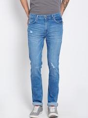 American Swan Men Blue Slim Fit Mid-Rise Mildly Distressed Jeans