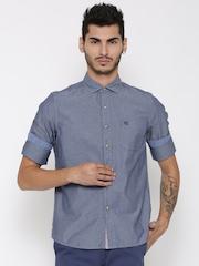 American Swan Men Blue Smart Fit Self-Design Casual Shirt