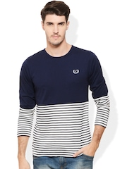Rigo Navy & White Striped Smart Fit T-shirt