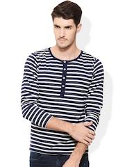 Rigo Navy & White Striped Henley Fit T-shirt
