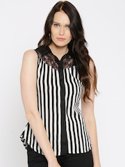 Moda Rapido Women Black Striped Shirt Style Top