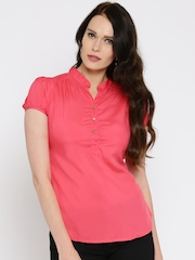 Moda Rapido Women Coral Pink Solid Shirt Style Top