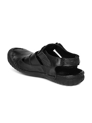 Alberto Torresi Men Black Textured Leather Sandals
