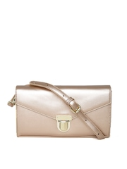 United Colors of Benetton Rose Gold-Toned Glossy Clutch with Sling Strap