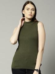 Marks & Spencer Women Olive Green Cardigan