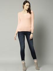 Marks & Spencer Women Peach-Coloured Sweater