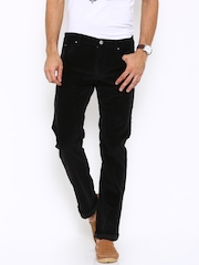 Lee Men Black Solid Corduroy Trousers
