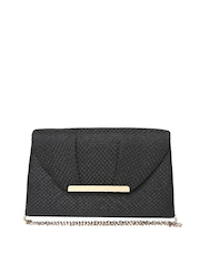 Accessorize Black Patterned Clutch with Chain Strap