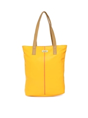 Chumbak Yellow & Coral Orange Tote Bag