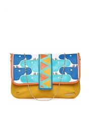 Chumbak Yellow & Blue Clutch