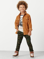 Mango Kids Boys Olive Green Printed Chino Trousers
