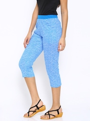 SDL by Sweet Dreams Blue & White Printed Smart Fit Lounge Capris F-LLC-1181