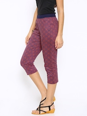 SDL by Sweet Dreams Coral Red Printed Smart Fit Lounge Capris F-LLC-1181