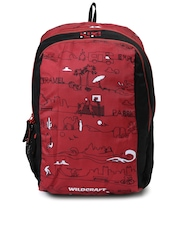 Wildcraft Wiki Kids Red & Black Printed Backpack