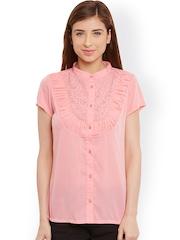 L ELEGANTAE Women Peach-Coloured Crepe Regular Fit Solid Casual Shirt