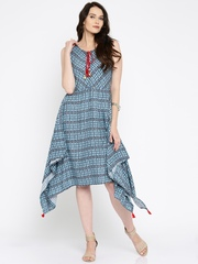 Global Desi Women Blue Printed Fit and Flare Dress