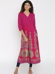 Global Desi Women Pink Printed A-Line Kurta