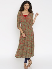 Global Desi Women Red Printed Straight Kurta