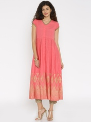 Global Desi Pink Printed Anarkali Kurta with Trousers