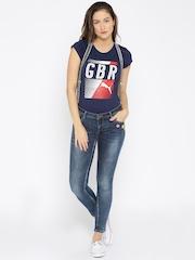 Deal Jeans Blue Slim Fit Mid-Rise Jeans with Detachable Suspenders