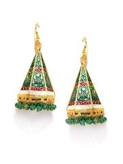 Fabindia Amna Gold-Toned & Green Jhumka Earrings