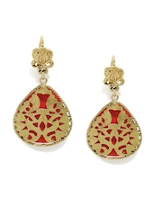 Fabindia Anusuya Red Gold-Plated Silver Drop Earrings