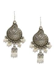 Fabindia Anusuya Oxidised Silver & White Jhumka Earrings