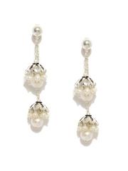 Fabindia Anusuya Silver & White Double-Sided Drop Earrings