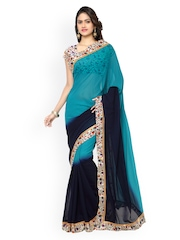 Silk Bazar Blue Ombre-Dyed Faux Georgette Printed Saree
