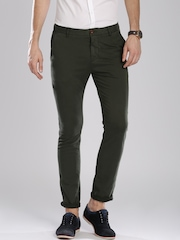 Breakbounce Men Olive Green Solid Skinny Fit Chinos