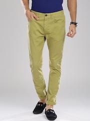 Breakbounce Men Green Solid Skinny Fit Chinos
