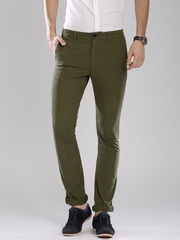 Breakbounce Men Olive Green Solid Slim Fit Chinos