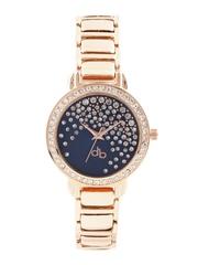 DressBerry Women Navy Stone-Studded Dial Watch DB2-B