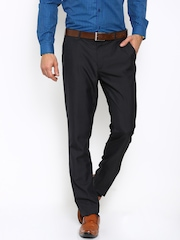 Black coffee Men Black Solid Slim Fit Flat-Front Trousers