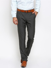Black coffee Men Charcoal Grey Solid Sharp Fit Flat-Front Formal Trousers