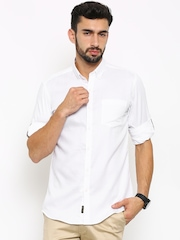 Black coffee Men White Slim Fit Casual Shirt