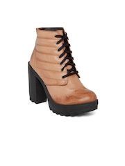 Knotty Derby Women Tan Brown Heeled Boots