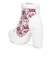 Knotty Derby Women White & Pink Floral Print Peep-Toed Platform Heels