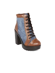 Knotty Derby Women Blue & Brown Colourblocked Heeled Boots