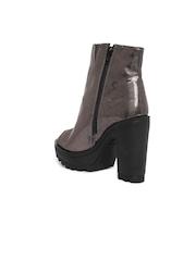 Knotty Derby Women Gunmetal-Toned Peep-Toed High-Top Platform Heels