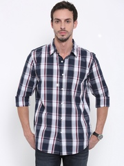 Fox Men White Regular Fit Checked Casual Shirt