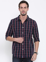 Fox Men Navy & Red Regular Fit Checked Casual Shirt
