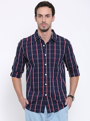 Fox Men Navy & Red Checked Casual Shirt