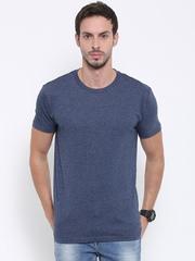 Fox Men Blue Melange Round Neck T-shirt