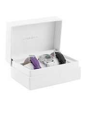 GIORDANO Women Silver-Toned & Black Dual-Dial Watch with Interchangeable Straps 60070-01
