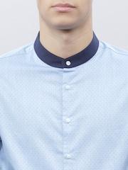 ether Men Blue Self-Design Slim Fit Shirt
