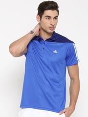 Adidas Men Blue BASE 3S Colourblocked Polo Collar T-shirt
